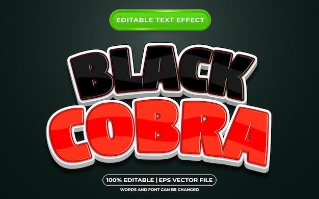 Редактируемый текстовый эффект черная кобра мультяшном стиле
