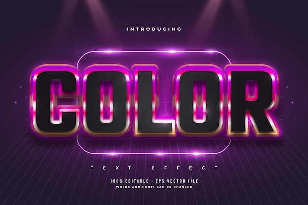 Editable text effect in black and colorful style with futuristic concept