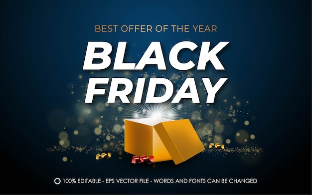 Editable text effect, black friday best offer style