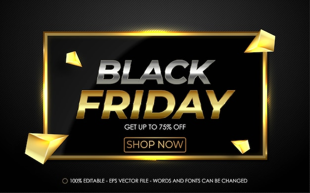 Editable text effect, black friday get up to 75% off style