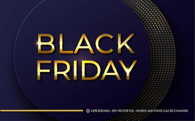 Editable text effect, black friday gold style illustrations