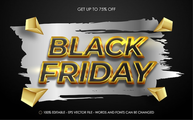 Editable text effect, black friday gold style