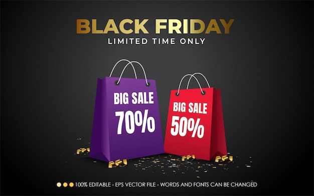 Editable text effect, black friday limited time style illustrations