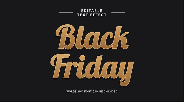 Editable text effect black friday sale elegant style gold color