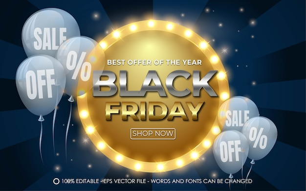 Editable text effect, black friday sale off style
