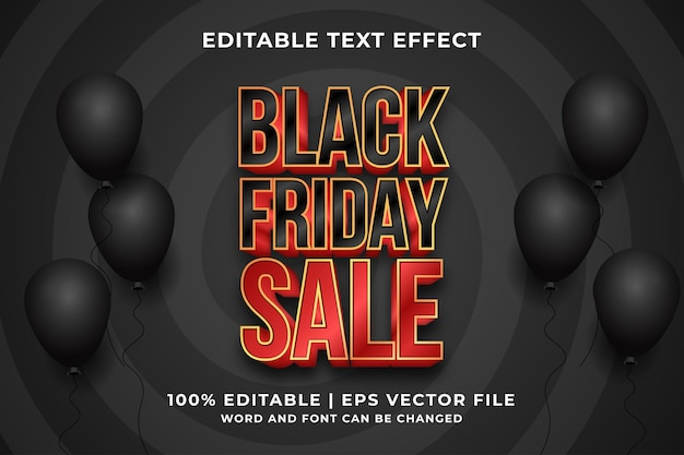 Editable text effect - black friday sale template style premium vector