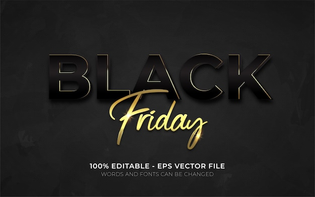 Editable text effect, black friday style illustrations