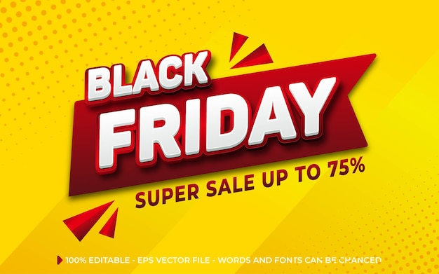 Editable text effect, black friday super sale style