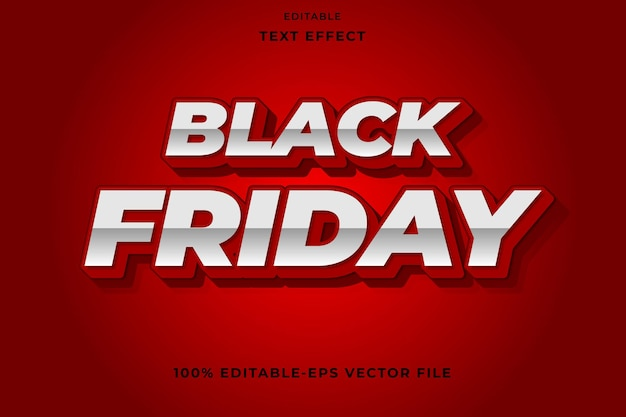 Editable text effect black friday with red color