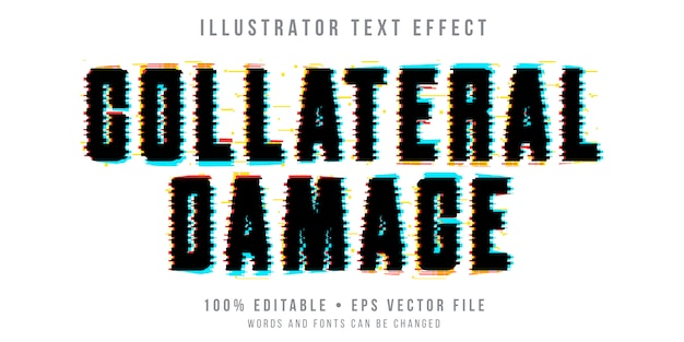 Editable text effect - black glitch style