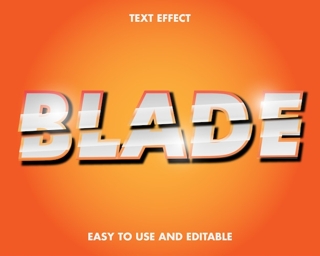 Editable text effect - blade word. easy to use and editable. premium vector illustration