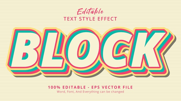 Editable text effect, block text on modern writing style effect