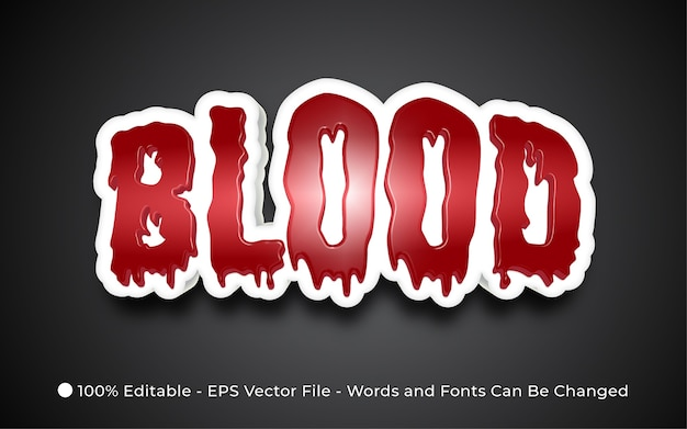 Editable text effect blood style illustrations Premium Vector