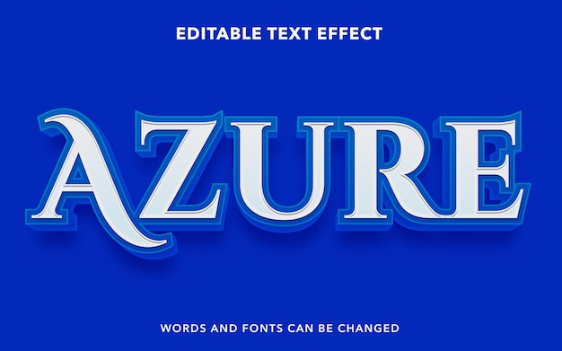 Editable text effect for blue azure