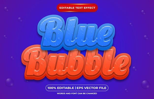 편집 가능한 텍스트 효과 파란색 거품 템플릿 스타일