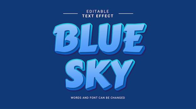 Editable text effect blue sky blue color bold concept
