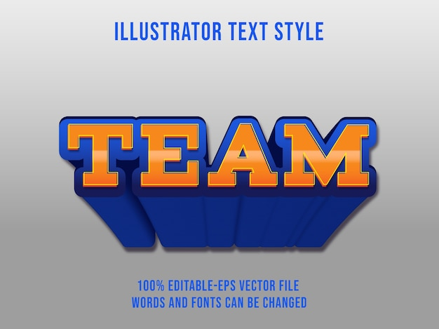 Editable text effect blue team