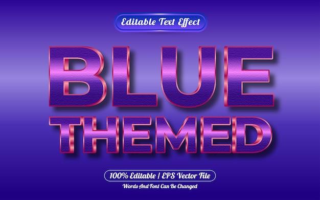편집 가능한 텍스트 효과 파란색 테마 골드 스타일