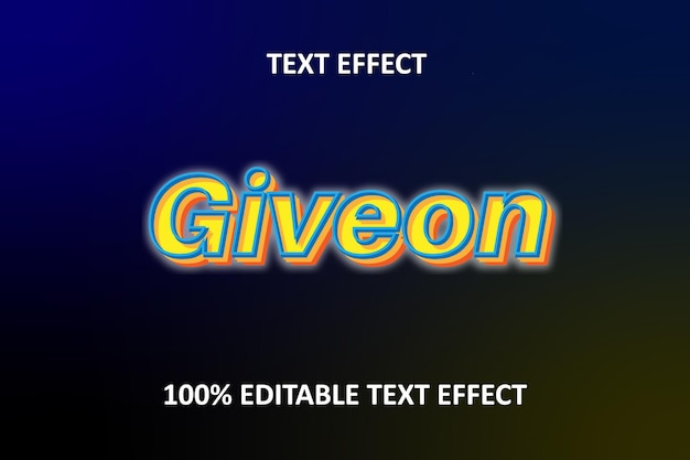 Editable text effect blue yellow