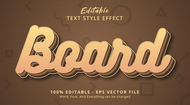 Editable text effect, board text on layered brown color style effect