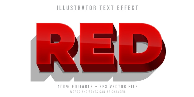 Editable text effect - bold red style