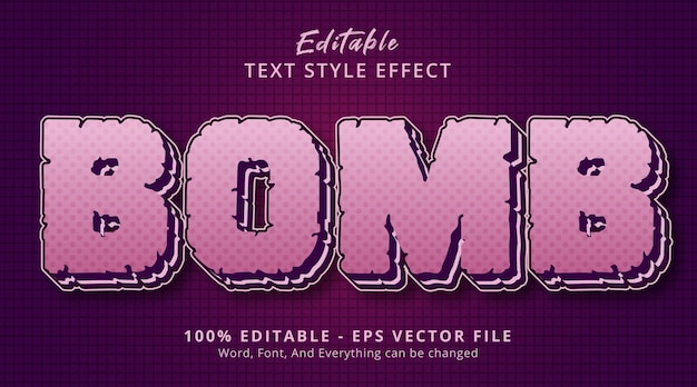 Editable text effect, bomb text on layered cartoon style