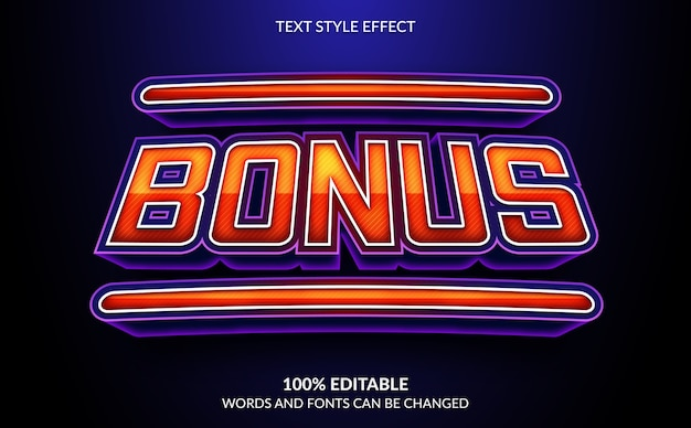 Editable text effect, bonus text style