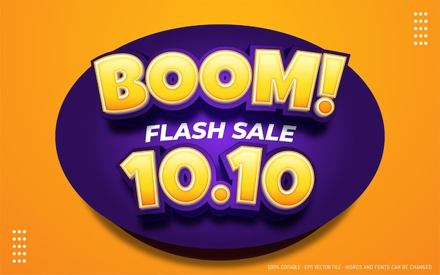 Editable text effect, boom 10.10 style illustrations