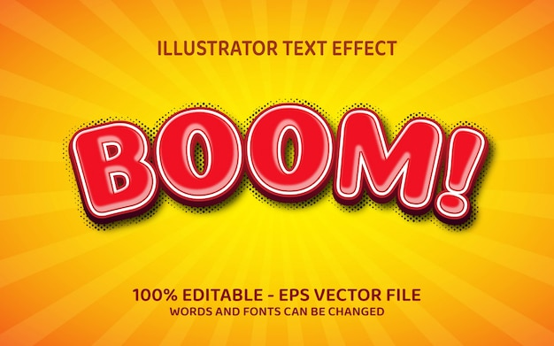 Editable text effect, boom style illustrations