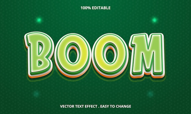 Editable text effect boom title isolated on green