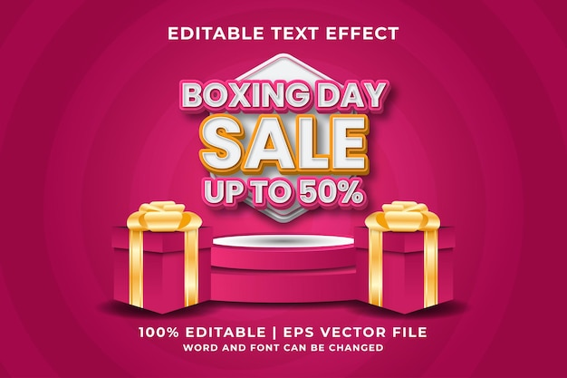 Editable text effect -boxing day sale template style premium vector