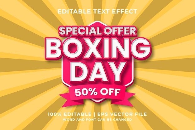 Editable text effect - boxing day template style premium vector
