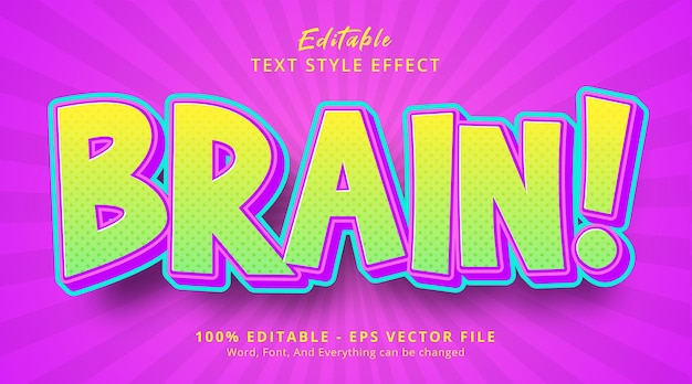 Editable text effect, brain text with popular color combination effect