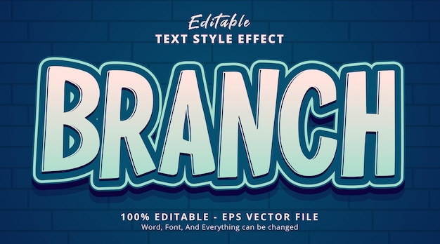 Editable text effect, branch text with nicely color combination style