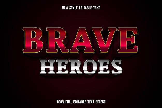 Editable text effect brave heroes color red and silver