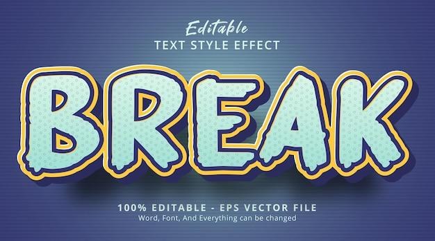 편집 가능한 텍스트 효과, 굵은 파란색 색상 조합 스타일에서 텍스트 나누기