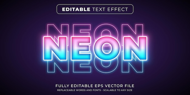 Editable text effect in bright neon lights style