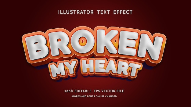 Editable text effect broken my heart style