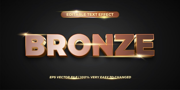 Editable text effect - bronze text style  concept
