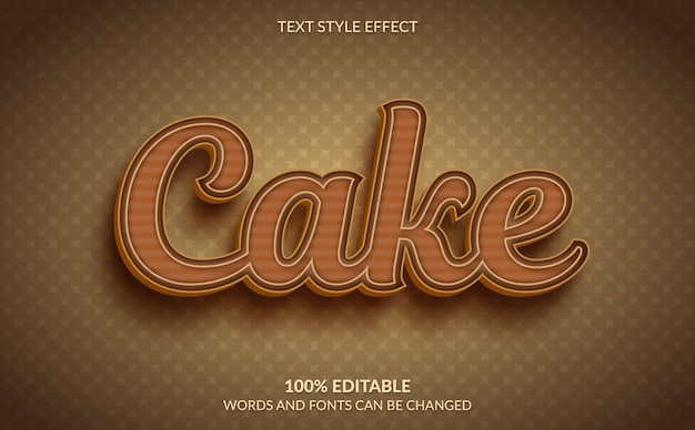 Editable text effect, brown cake text style