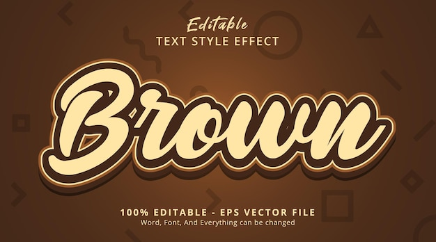 Editable text effect, brown text on chocolate style in brown color