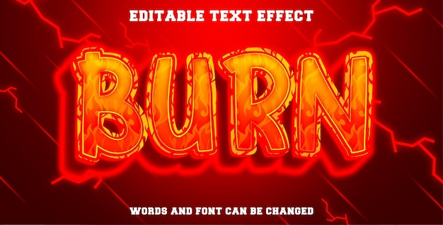 Editable text effect burn style