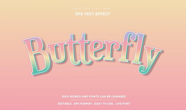 Editable text effect, butterfly style