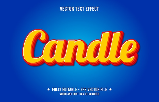 Editable text effect candle modern style