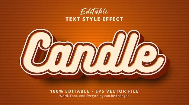 편집 가능한 텍스트 효과, 갈색 색상 스타일 효과의 촛불 텍스트
