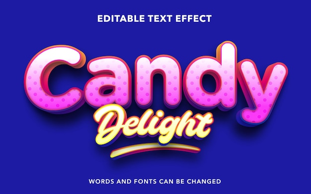 Editable text effect for candy delight