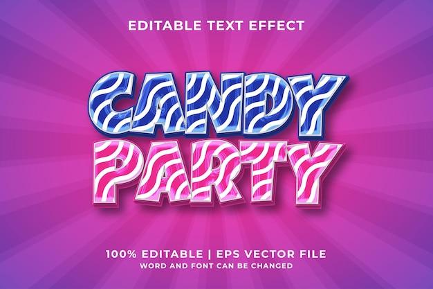 Редактируемый текстовый эффект - стиль шаблона candy party премиум векторы