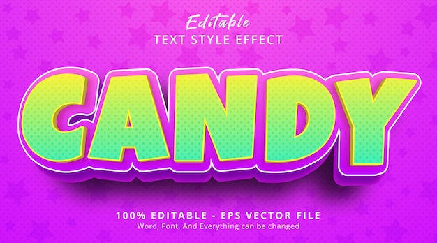 Editable text effect, candy text on headline kids style effect