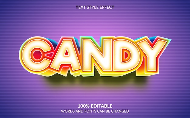 Editable text effect, candy text style