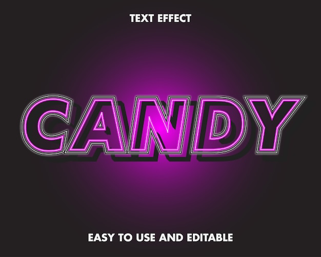 Editable text effect - candy word.